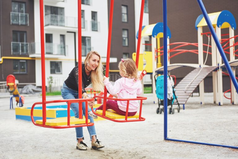 mother with child on the playground
